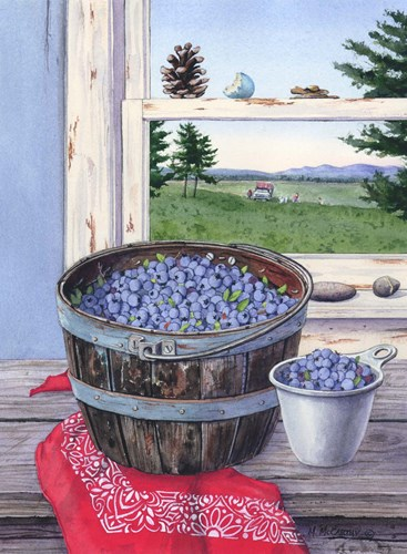 Blueberries And Red Bandana art print by Maureen Mccarthy for $36.25 CAD