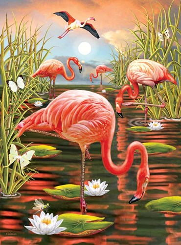 Flamingoes - Vertical art print by Rosiland Solomon for $40.00 CAD