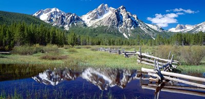 McGown Peak Reflected on a Lake, Sawtooth Mountains, Idaho art print by Panoramic Images for $71.25 CAD