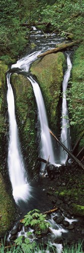 High angle view of a waterfall in a forest, Triple Falls, Columbia River Gorge, Oregon (vertical) art print by Panoramic Images for $86.25 CAD