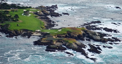 Golf course on an island, Pebble Beach Golf Links, Pebble Beach, Monterey County, California, USA art print by Panoramic Images for $86.25 CAD
