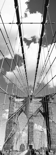 Brooklyn Bridge, Manhattan, New York City (black and white, vertical) art print by Panoramic Images for $86.25 CAD
