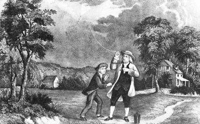 June 1752 Benjamin Franklin Out Flying His Kite In Thunderstorm As An Experiment In Electricity And Lightning art print by Vintage Images for $56.25 CAD