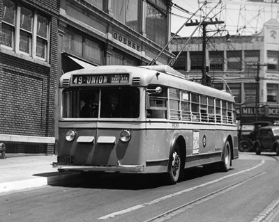 Vehicle Operates As Trackless Trolley Electric Bus Or Gasoline Bus Public Transportation Elizabeth NJ art print by Vintage Images for $66.25 CAD