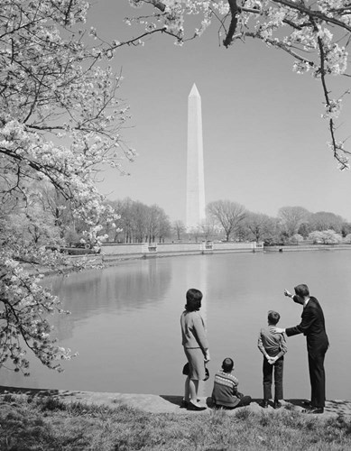 Family At Washington Monument Amid Cherry Blossoms art print by Vintage Images for $67.50 CAD