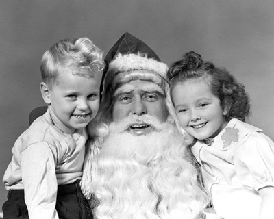 Santa Claus Posing With Young Boy And Girl art print by Vintage Images for $58.75 CAD