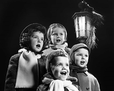 Children Singing Christmas Carols Outdoor By Lantern Light art print by Vintage Images for $66.25 CAD