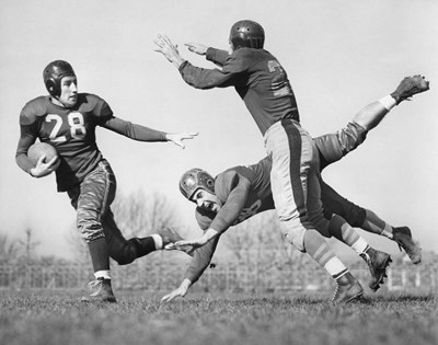 Three Men Playing Football art print by Vintage Images for $66.25 CAD