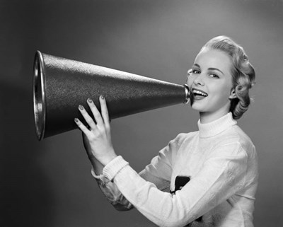 Cheerleader Yelling Into Megaphone art print by Vintage Images for $66.25 CAD