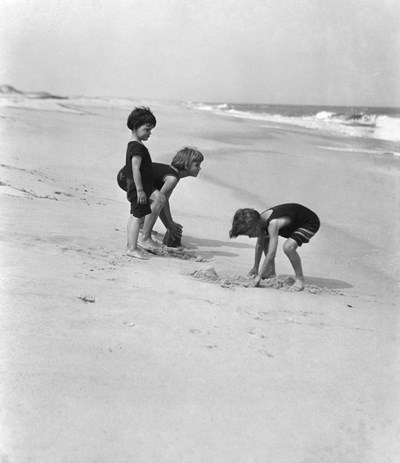 3 Kids Playing In The Sand On The New Jersey Shore art print by Vintage Images for $62.50 CAD