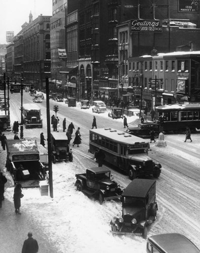 Snowy Philadelphia City Street In Winter art print by Vintage Images for $66.25 CAD