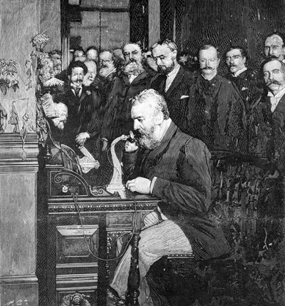 Engraving Of Alexander Graham Bell Making First Long Distance Telephone Call From New York To Chicago In 1892 art print by Vintage Images for $60.00 CAD