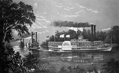 Steamboats Rounding A Bend On Mississippi River Parting Salute Currier & Ives Lithograph 1866 art print by Vintage Images for $56.25 CAD
