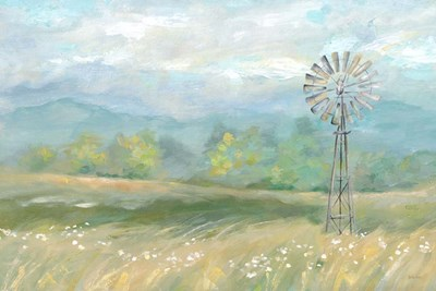 Country Meadow Windmill Landscape art print by Cynthia Coulter for $42.50 CAD