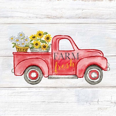 Farmhouse Stamp Red Truck art print by Cynthia Coulter for $32.50 CAD