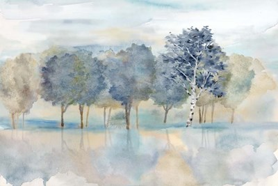 Treeline Reflection Landscape art print by Cynthia Coulter for $42.50 CAD