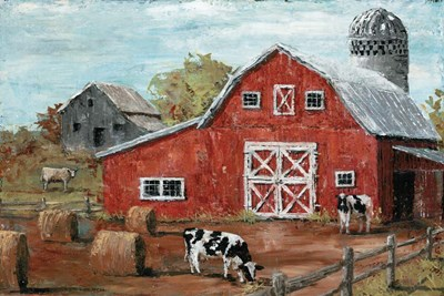 Red Country Barn art print by Marie-Elaine Cusson for $42.50 CAD