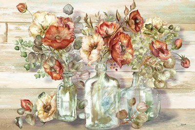Spice Poppies and Eucalyptus in bottles Landscape art print by Tre Sorelle Studios for $42.50 CAD