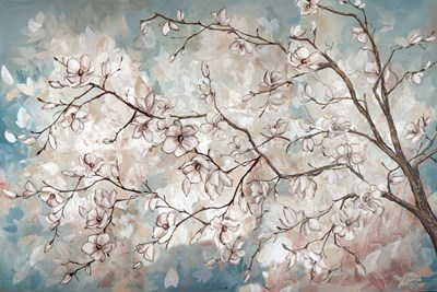 Magnolia Branches on Blue art print by Tre Sorelle Studios for $42.50 CAD