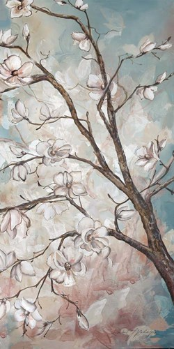 Magnolia Branches on Blue III art print by Tre Sorelle Studios for $50.00 CAD
