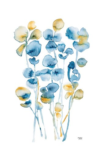 Blue and Gold Watercolor Floral art print by Andrea Bijou for $42.50 CAD
