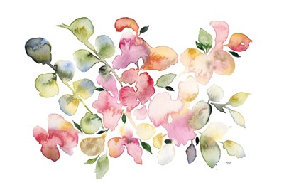 Shades of Pink Watercolor Floral art print by Andrea Bijou for $42.50 CAD