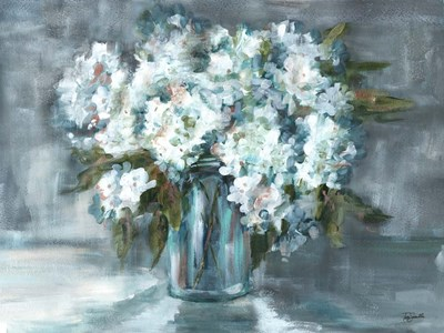 White Hydrangeas on Gray Landscape art print by Tre Sorelle Studios for $38.75 CAD