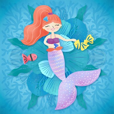 Mermaid Red Hair art print by Noonday Design for $32.50 CAD