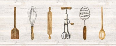 Vintage Kitchen Utensils Panel art print by Tara Reed for $35.00 CAD