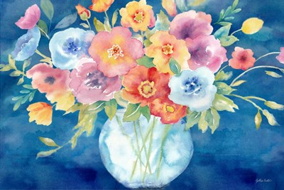 Bright Poppies Vase Navy art print by Cynthia Coulter for $60.00 CAD