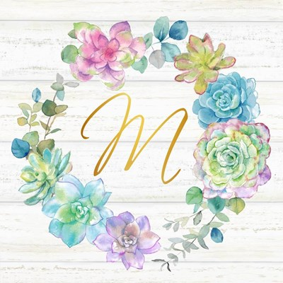 Sweet Succulents Wreath Monogram M gold art print by Cynthia Coulter for $53.75 CAD
