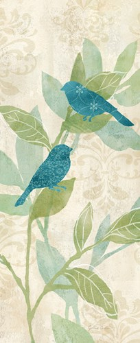 Love Bird Patterns Turquoise Panel I art print by Cynthia Coulter for $35.00 CAD