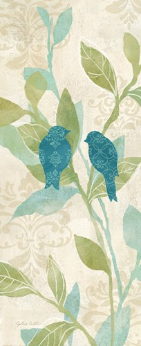 Love Bird Patterns Turquoise Panel II art print by Cynthia Coulter for $35.00 CAD
