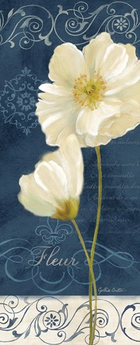 Paris Poppies Navy Blue Panel II art print by Cynthia Coulter for $35.00 CAD