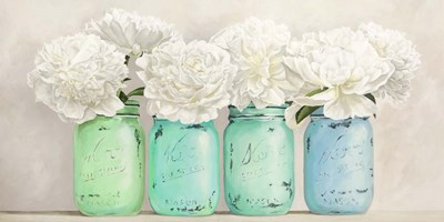 Peonies in Mason Jars (detail) art print by Jenny Thomlinson for $50.00 CAD