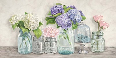 Flowers in Mason Jars art print by Jenny Thomlinson for $50.00 CAD