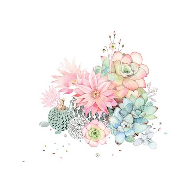 Cacti Flower and Succulents art print by A.V. Art for $48.75 CAD