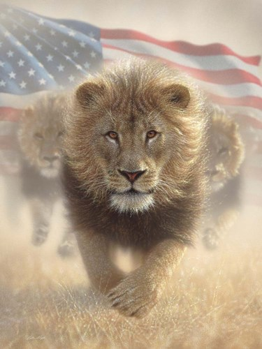 Running Lions America art print by Collin Bogle for $41.25 CAD