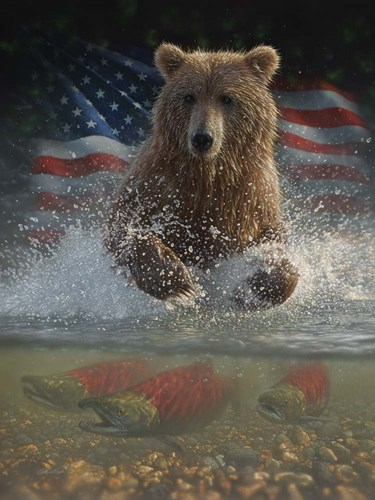 Brown Bear Fishing America art print by Collin Bogle for $41.25 CAD