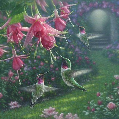 Hummingbird Haven - Square art print by Collin Bogle for $48.75 CAD