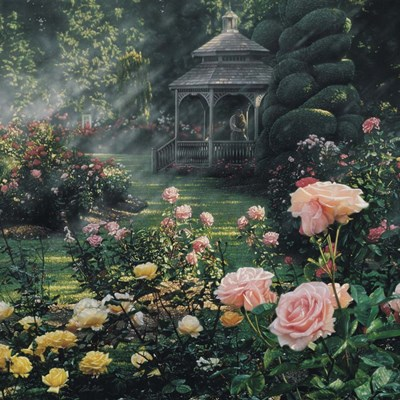 Rose Garden - Paradise Found - Square art print by Collin Bogle for $48.75 CAD