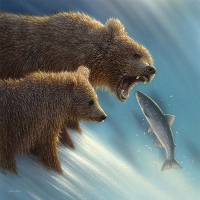 Brown Bears - Fishing Lesson art print by Collin Bogle for $48.75 CAD