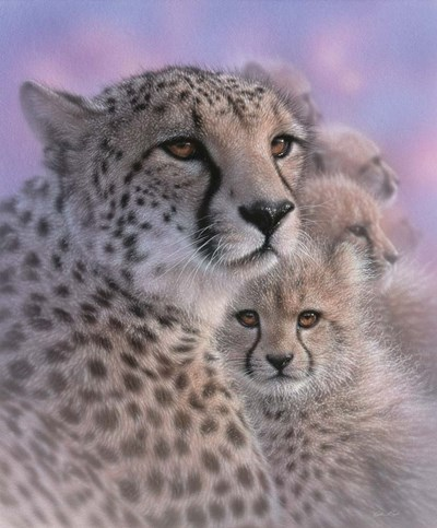 Cheetah Mother and Cubs - Mother's Love art print by Collin Bogle for $38.75 CAD