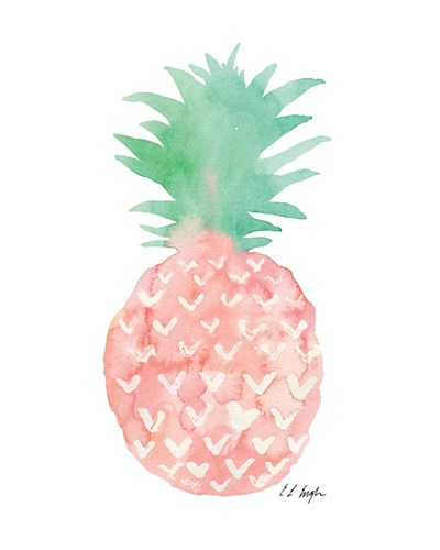 Mint and Pink Pineapple art print by Elise Engh for $40.00 CAD