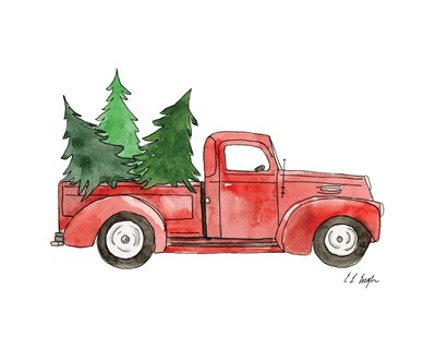 Christmas Truck I art print by Elise Engh for $40.00 CAD