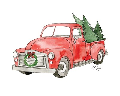 Christmas Truck II art print by Elise Engh for $40.00 CAD