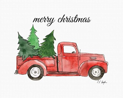 Merry Christmas Truck art print by Elise Engh for $40.00 CAD