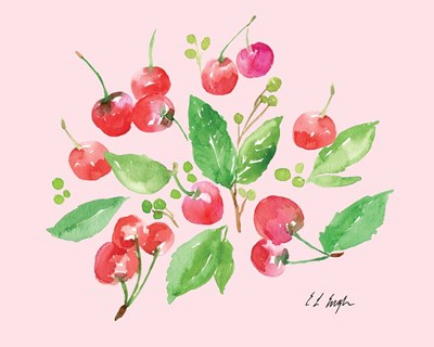 Cherries and Leaves - Pale Pink art print by Elise Engh for $40.00 CAD