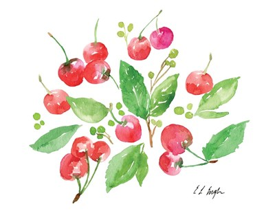 Cherries and Leaves art print by Elise Engh for $40.00 CAD