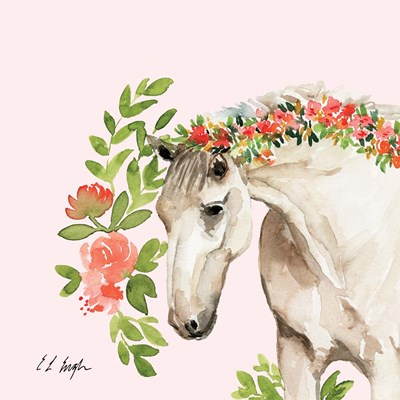 Peach Floral Horse - Pink Background art print by Elise Engh for $45.00 CAD
